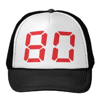 80 número digital del despertador de ochenta rojos gorras