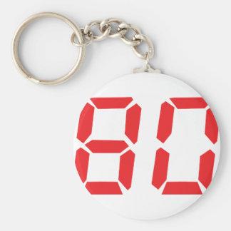 80 número digital del despertador de ochenta rojos llavero redondo tipo pin