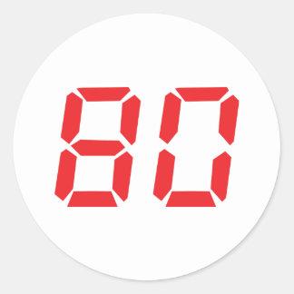80 número digital del despertador de ochenta rojos pegatina redonda
