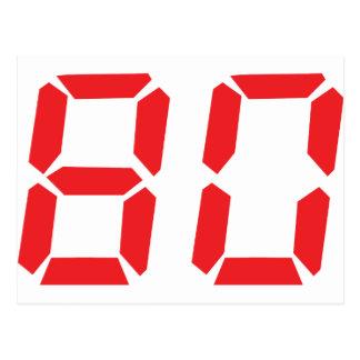 80 número digital del despertador de ochenta rojos postales