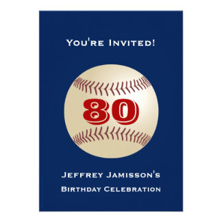 80 o Béisbol de la invitación de la fiesta de cump
