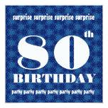 80.o Blanco azul W1888 de la fiesta de cumpleaños Invitaciones Personalizada