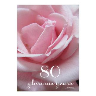 """80.o ¡Celebración del cumpleaños! - Color de rosa Invitación 5"""" X 7"""""""