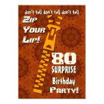 80.o Cremallera del cumpleaños de la sorpresa su Invitación 12,7 X 17,8 Cm