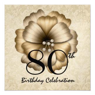 """80.o Cuadrado del arco de la flor del oro de la Invitación 5.25"""" X 5.25"""""""