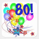 ¡80! O cualquier cumpleaños de la edad hincha a lo Calcomanías Cuadradas Personalizadas