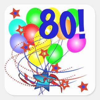 ¡80! O cualquier cumpleaños de la edad hincha a Pegatina Cuadrada