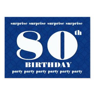 80.o Cumpleaños azul de la SORPRESA y blanco Invitación 12,7 X 17,8 Cm
