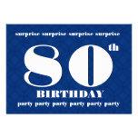 80.o Cumpleaños azul de la SORPRESA y blanco moder Invitacion Personal