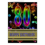 80.o Cumpleaños con las burbujas y los fuegos arti Tarjeta