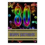 80.o Cumpleaños con las burbujas y los fuegos Tarjeta