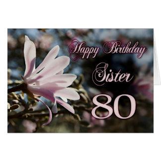 80.o cumpleaños de la hermana con la magnolia tarjeta de felicitación
