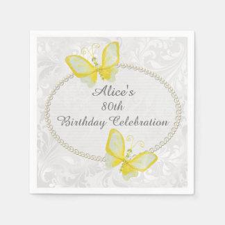 80.o cumpleaños del damasco elegante de las servilletas de papel