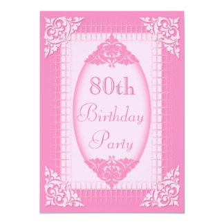 80.o cumpleaños del rosa elegante, femenino anuncios