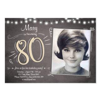 """80.o Cumpleaños del vintage ochenta de la Invitación 5"""" X 7"""""""