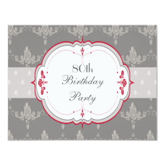 80.o cumpleaños elegante de los rosas grises y comunicados personales