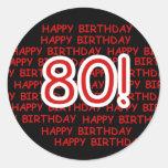 80.o cumpleaños feliz etiqueta redonda