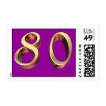 80.o cumpleaños feliz ochenta 80 octogésimos sello