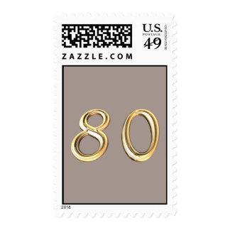 80.o cumpleaños feliz ochenta 80 octogésimos sellos