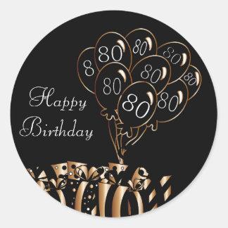 80.o cumpleaños feliz pegatina redonda