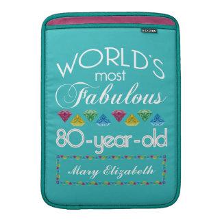 80.o Cumpleaños la mayoría de la turquesa colorida Funda Para Macbook Air