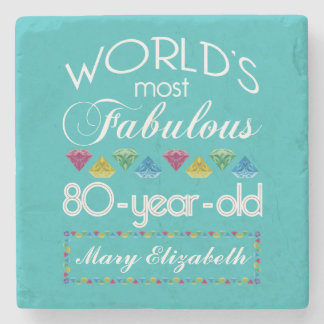 80.o Cumpleaños la mayoría de la turquesa colorida Posavasos De Piedra