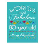 80.o Cumpleaños la mayoría de la turquesa colorida Tarjeta Postal