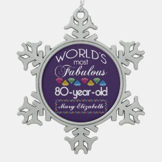 80 o Cumpleaños la mayoría de las gemas coloridas Adornos