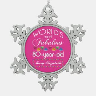 80.o Cumpleaños la mayoría del rosa colorido Adorno De Peltre En Forma De Copo De Nieve