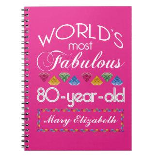 80.o Cumpleaños la mayoría del rosa colorido Libretas Espirales