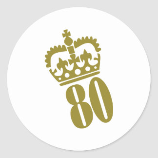 80 o cumpleaños - número - ochenta pegatinas redondas