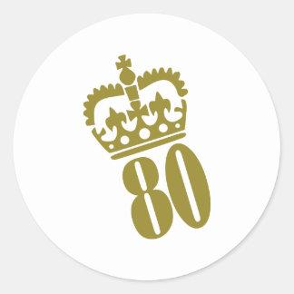 80.o cumpleaños - número - ochenta pegatina redonda