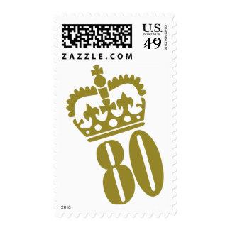 80.o cumpleaños - número - ochenta sello postal
