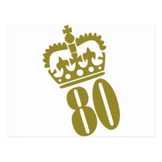 80.o cumpleaños - número - ochenta tarjeta postal