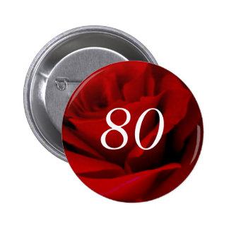 80.o Cumpleaños Pin Redondo 5 Cm