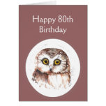 80.o Cumpleaños que le ama, humor lindo del búho Felicitación