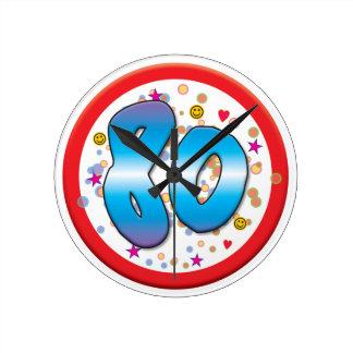 80.o Cumpleaños Reloj Redondo Mediano