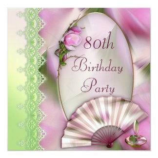 """80.o cumpleaños rosado bonito de la magnolia y de invitación 5.25"""" x 5.25"""""""