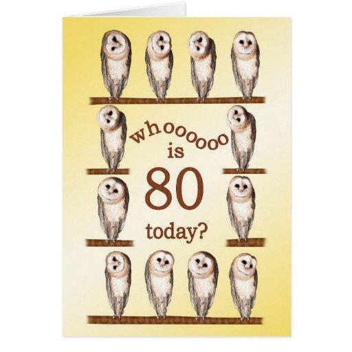 80.o cumpleaños, tarjeta curiosa de los búhos