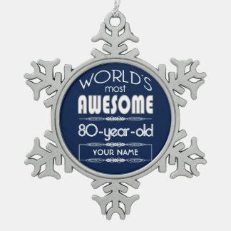 80 o Del cumpleaños de los mundos azul marino Adorno