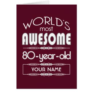 80.o Del cumpleaños de los mundos rojo oscuro Tarjeta De Felicitación