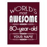 80.o Del cumpleaños de los mundos rojo oscuro Tarjeta Postal