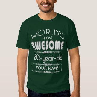 80.o Del cumpleaños de los mundos verde oscuro Camisas