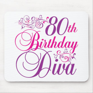 80.o Diva del cumpleaños Alfombrillas De Raton