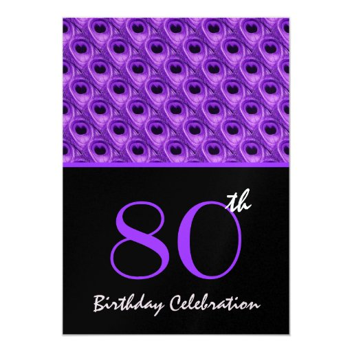 """80.o El pavo real púrpura del cumpleaños empluma Invitación 5"""" X 7"""""""