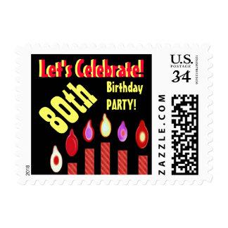 80 o El rojo del sello de la fiesta de cumpleaños