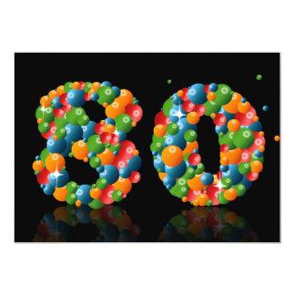 """80.o Fiesta de cumpleaños, con las burbujas y las Invitación 5"""" X 7"""""""