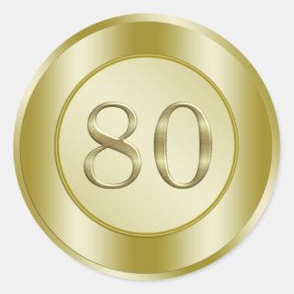 80.o Fiesta de cumpleaños Etiqueta Redonda