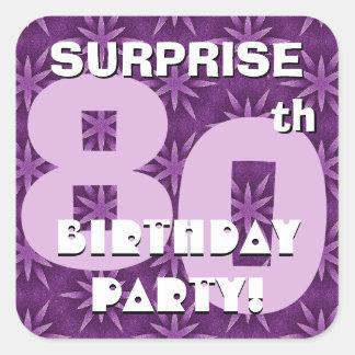 80.o Fuegos artificiales púrpuras V05 del Pegatina Cuadrada