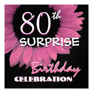 80.o Girasol 001 del rosa del cumpleaños de la Invitación 13,3 Cm X 13,3cm